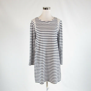 White blue striped 100% cotton A. L. C. stretch long sleeve shift dress L