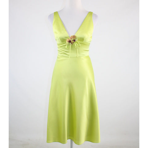 Bright green satin DAVID MEISTER V-neck sleeveless A-line dress 2