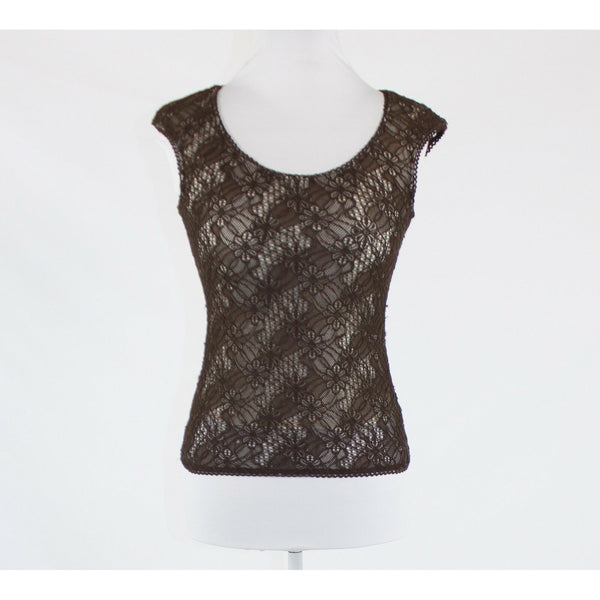 Brown white floral lace overlay MAX STUDIO cap sleeve scoop neck blouse S