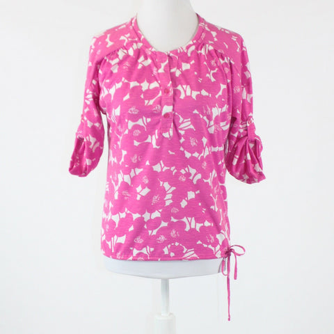 Pink white floral print button chest NEW YORK and COMPANY 1/2 sleeve blouse XS