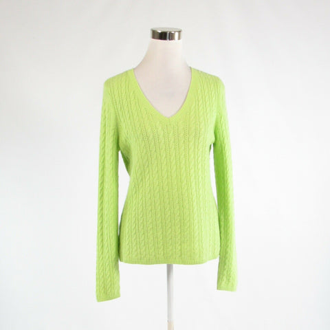 Bright green TALBOTS long sleeve V-neck cableknit sweater M