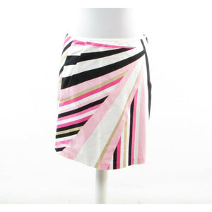 Pink white geometric cotton ELIE TAHARI stretch A-line skirt M
