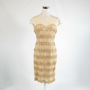 Beige lace ANTONIO MELANI stretch sheer overlay cap sleeve sheath dress 8-Newish