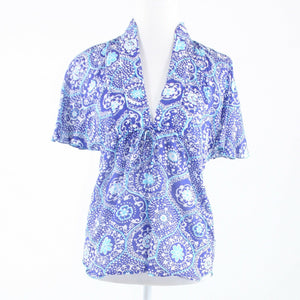 Periwinkle purple white vintage print ANTHROPOLOGIE TRINA TURK tunic blouse P