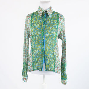 Gray green paisley ROBERTA FREYMANN pleated texture button down blouse S