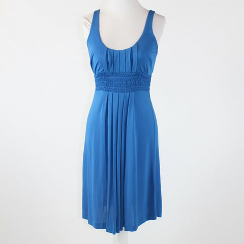 Blue 100% rayon TIBI thin strap scoop neck smocked empire waist dress XS