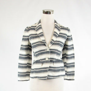 Ivory blue uneven striped linen blend ANN TAYLOR LOFT blazer jacket 00P-Newish