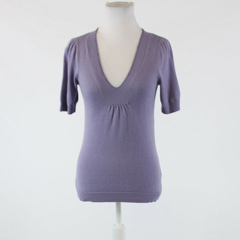 Lavender purple FORTH and TOWNE beaded trim short sleeve v-neck thin knit sweater