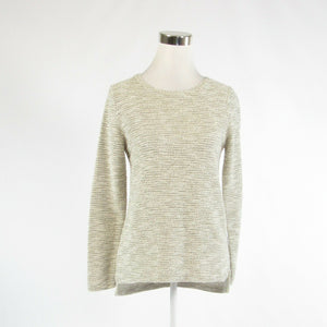 Ivory black gold textured cotton blend PER SE long sleeve crewneck sweater S-Newish