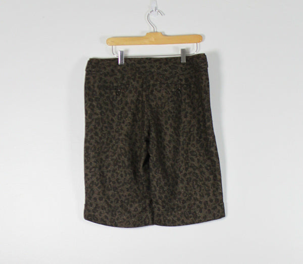 THE LIMITED dark brown cheetah tweed cassidy fit cuffed shorts 10-Newish
