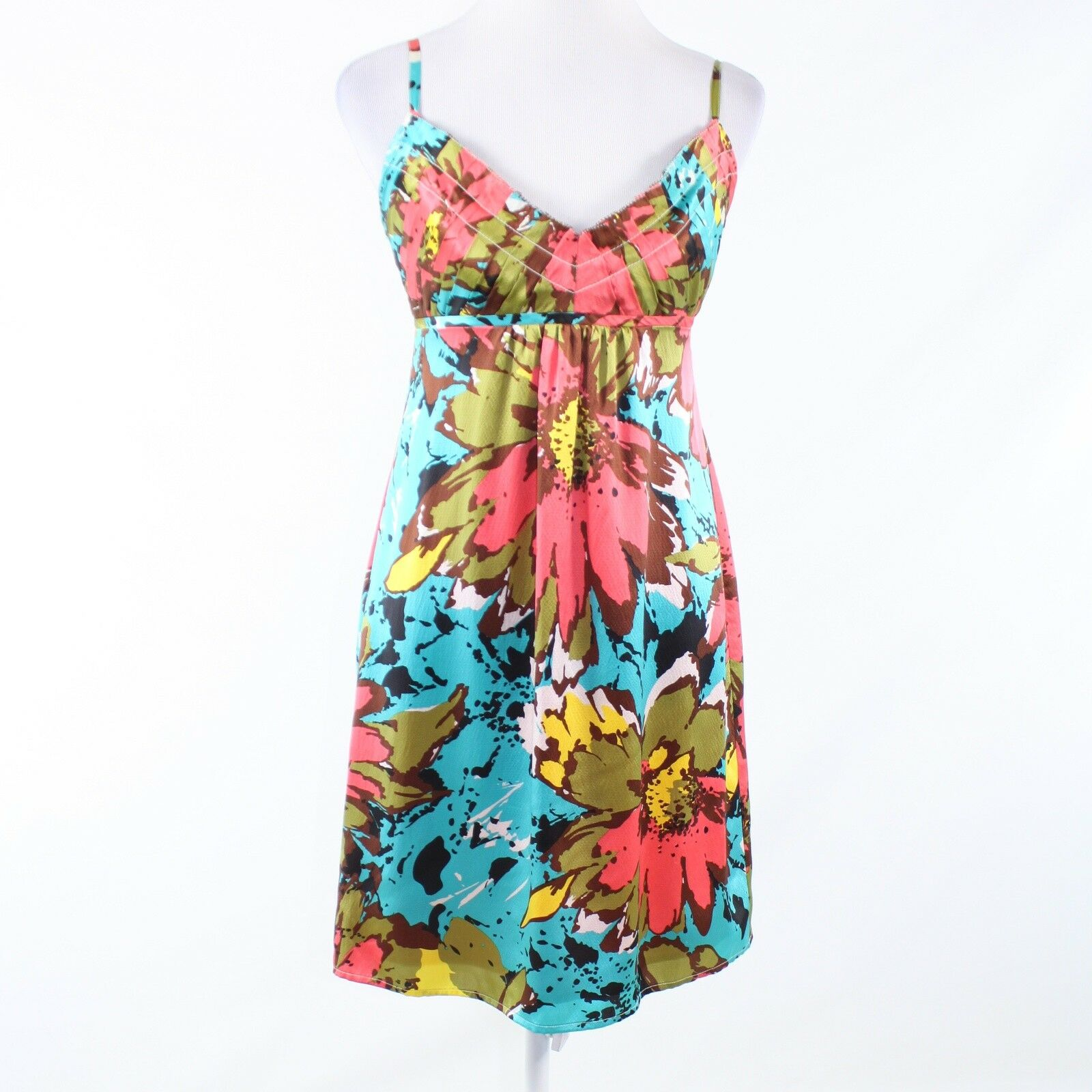 Turquoise blue pink floral print 100% silk ANTHROPOLOGIE BETH BOWLEY sun dress S-Newish