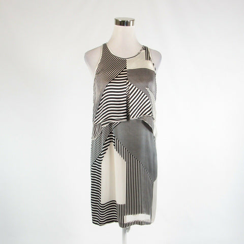 White black geometric ELIZABETH AND JAMES sheer overlay sleeveless shift dress 4-Newish