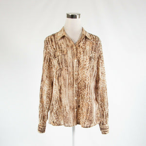 Light beige brown snake 100% cotton LUCKY BRAND long sleeve button down blouse L-Newish