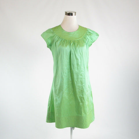 Light green 100% silk CALYPSO shimmery cap sleeve shift dress M