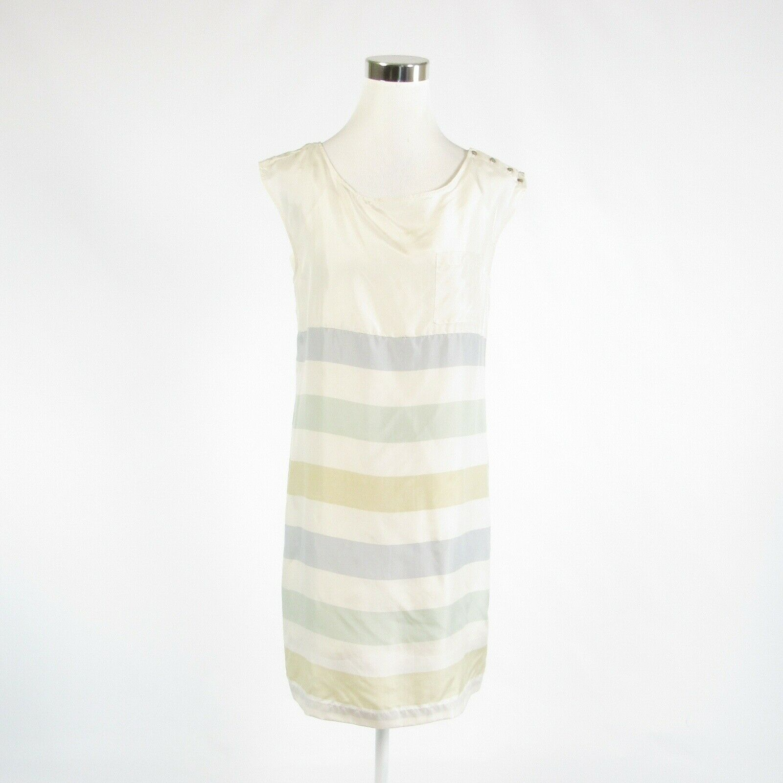 White blue striped 100% silk ANTHROPOLOGIE ODILLE sleeveless shift dress 4-Newish