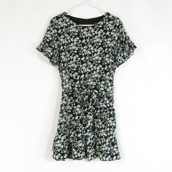 Black ivory floral print BANANA REPUBLIC short sleeve A-line dress 8P