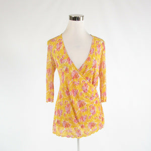 Yellow pink abstract 100% silk DIANE VON FURSTENBERG 3/4 sleeve blouse P