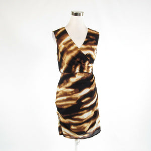 Dark brown white tiger silk blend ANN TAYLOR sleeveless faux wrap dress 6P-Newish