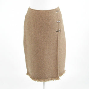 Beige COLETTE MORDO FOR SADIMARA stretch knit faux wrap skirt S
