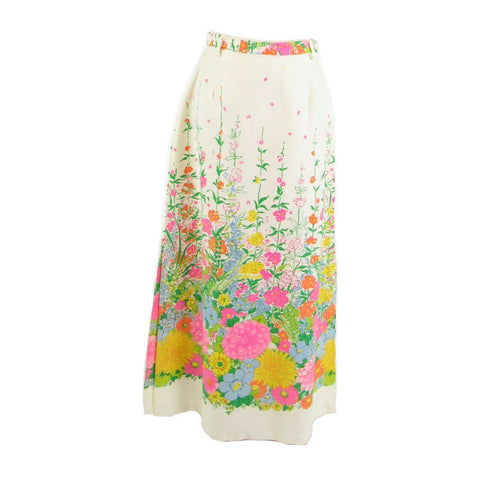 Ivory pink green floral SEATON HALL vintage maxi skirt 14 XS-Newish