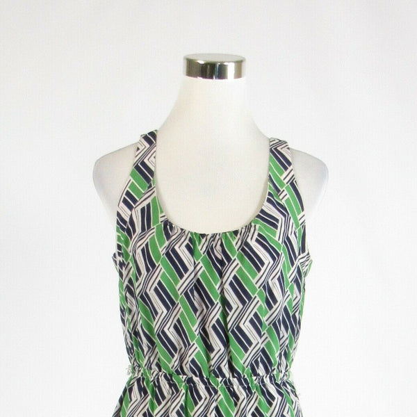 Green blue geometric 100% silk BANANA REPUBLIC sleeveless sheath dress 10P-Newish