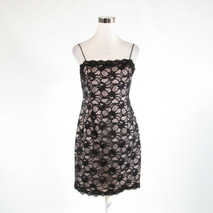 Black floral print lace JONES NEW YORK DRESS spaghetti strap sheath dress 8P