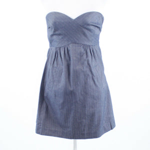 Blue gray pinstripe cotton blend TIBI strapless sun dress 2-Newish