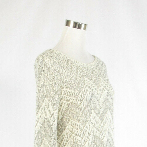 White beige chevron cotton blend LUCKY BRAND long sleeve crewneck sweater L-Newish