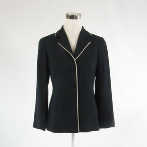 Navy blue white 100% wool DONCASTER stretch long sleeve blazer jacket 4P-Newish