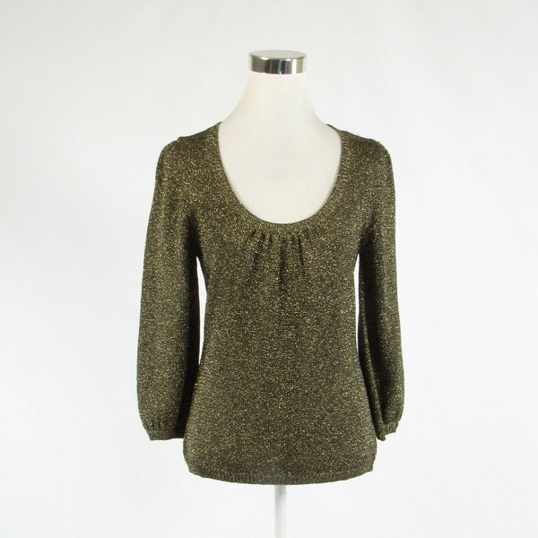 Metallic gold BODEN shimmery 3/4 sleeve scoop neck sweater 12-Newish