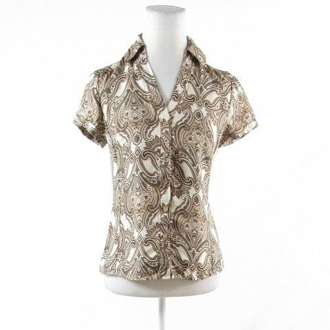 Cool brown ivory paisley 100% silk ANN TAYLOR short sleeve button down blouse 2