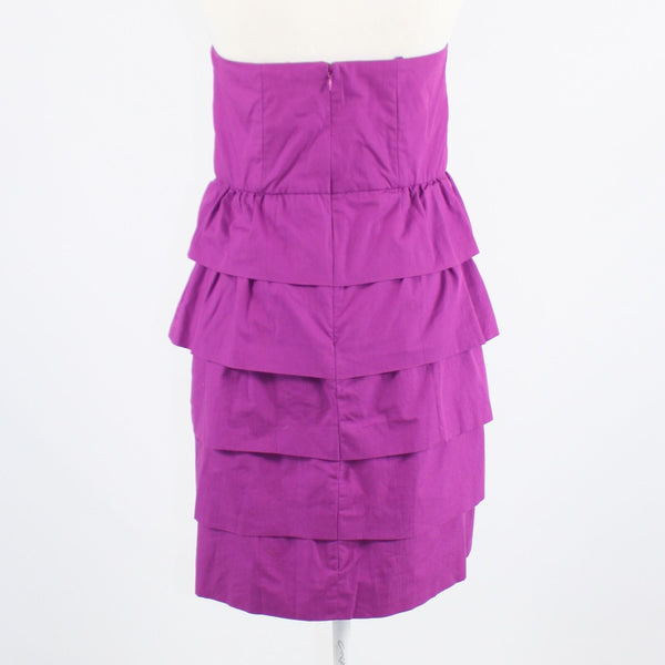 Purple 100% cotton J. CREW strapless tiered dress 8 NWT $89.50