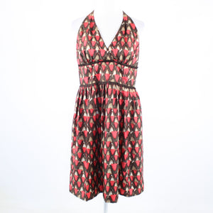 Salmon pink brown geometric 100% silk CARMEN MARC VALVO A-line halter dress 12