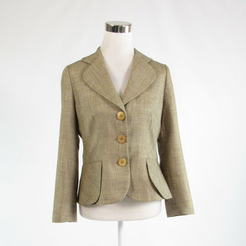 Beige brown cotton blend RENA LANGE long sleeve blazer jacket 8