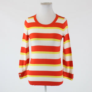Orange yellow striped cotton BANANA REPUBLIC 3/4 sleeve scoop neck sweater S