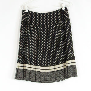 Black ivory polka dot 100% silk ANNE KLEIN pleated skirt 6