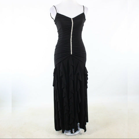 Black silver beaded CACHE spaghetti strap tiered dress 2
