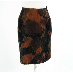 Warm brown black camouflage crushed velvet WORTH pencil skirt 0-Newish