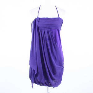 Dark purple 100% silk ALICE and OLIVIA halter neck bubble dress S