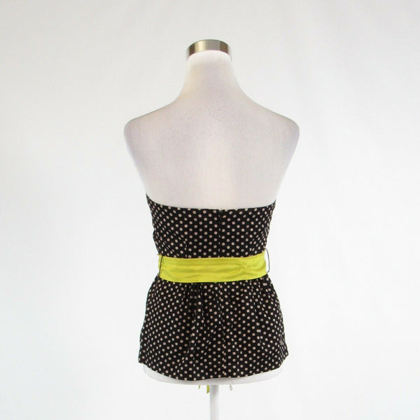 Black beige polka dot 100% cotton ANTHROPOLOGIE ODILLE sleeveless blouse 2-Newish