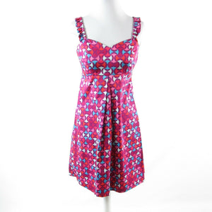 Fuchsia pink blue geometric cotton blend ELLEN and OLLIE sleeveless A-line dress 4