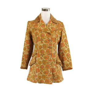 Light beige yellow floral double breasted vintage peacoat S-Newish