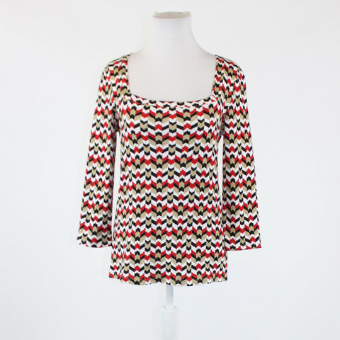 Beige red black geometric 100% cotton JONES NEW YORK 3/4 sleeve blouse S