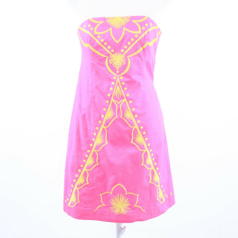 Pink 100% cotton LILLY PULITZER yellow embroidered strapless sheath dress 2