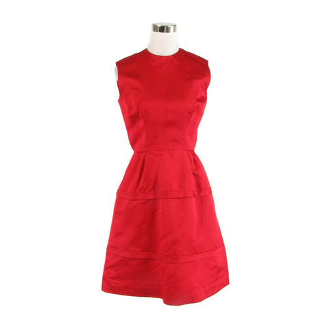 Red vintage sleeveless A-line crew neck dress XS