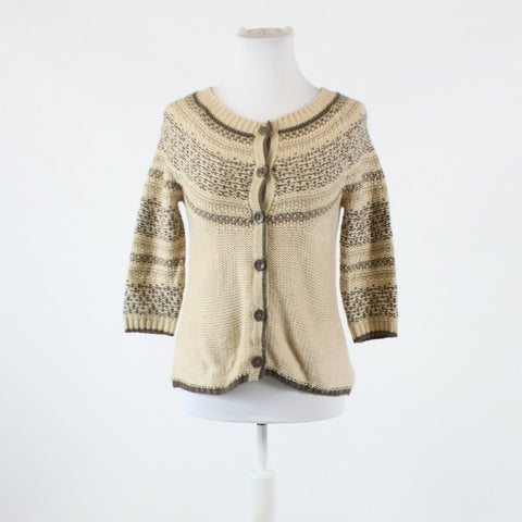 Light beige brown geometric NEW YORK and COMPANY 3/4 sleeve cardigan sweater XS