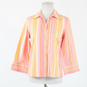 Pink orange white striped 100% cotton TALBOTS 3/4 sleeve button down blouse 4-Newish