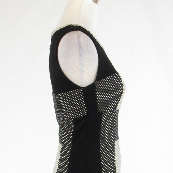 Black gray polka dot ANTHROPOLOGIE YOANA BARASCHI sleeveless sheath dress 4