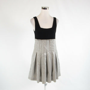 White black checkered cotton blend ALICE and OLIVIA sleeveless A-line dress M