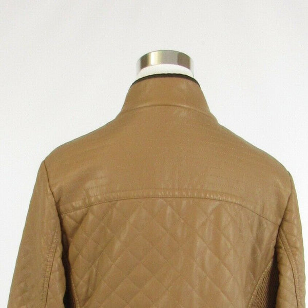Khaki brown quilted faux leather NANA BELLE long sleeve jacket L-Newish